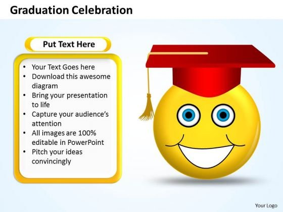 Business Charts PowerPoint Templates Graduation Celebration Smiley Emoticon