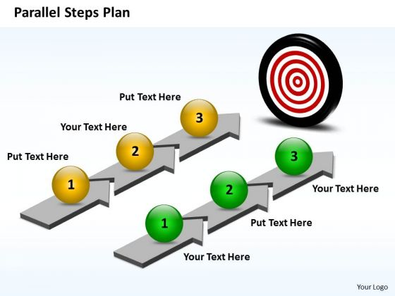 Business Charts PowerPoint Templates Parallel Steps Plan Toward Meeting The Goal