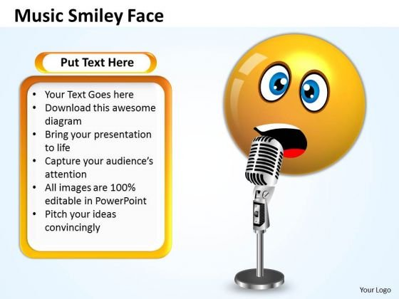 Business Charts PowerPoint Templates Singing Smiley Emoticon With Mike Sales