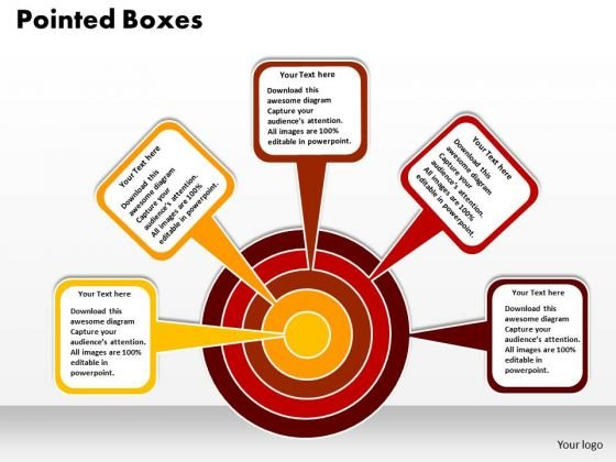 Business Circle Charts PowerPoint Templates Business Pointed Boxes Towards A Target Ppt Slides