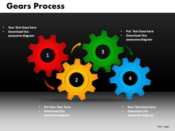 Business Circle Charts PowerPoint Templates Strategy Gears Process Ppt Slides