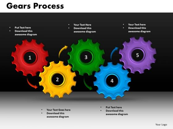 Business Circular Charts PowerPoint Templates Business Gears Process Ppt Slides