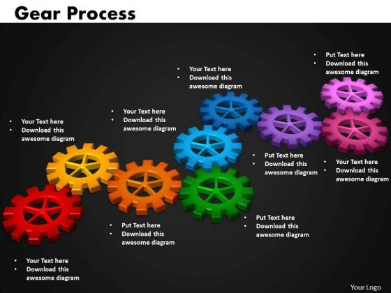 Business Circular Charts PowerPoint Templates Growth Gears Process Ppt Slides
