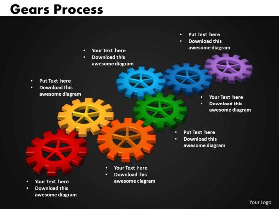 Business Circular Charts PowerPoint Templates Leadership Gears Process Ppt Slides