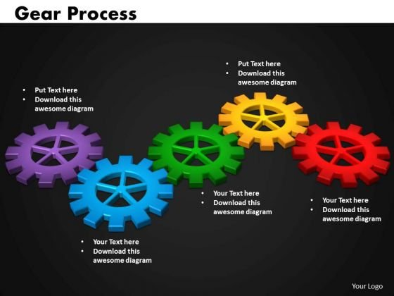 Business Circular Charts PowerPoint Templates Marketing Gears Process Ppt Slides