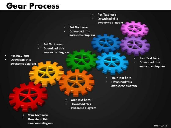 Business Circular Charts PowerPoint Templates Strategy Gears Process Ppt Slides