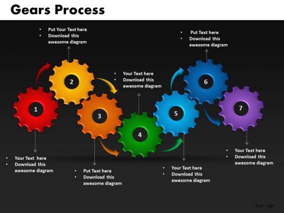 Business Circular Charts PowerPoint Templates Teamworks Gears Process Ppt Slides