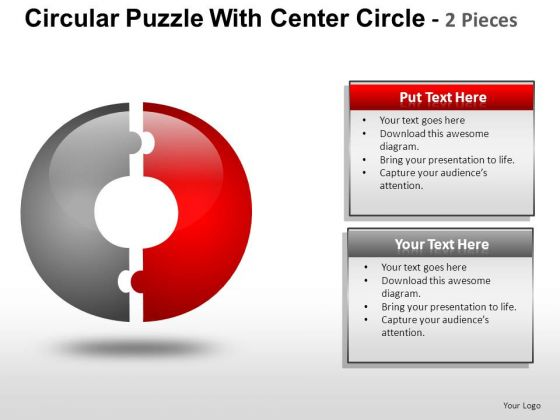 Business Circular Puzzle 2 Pieces PowerPoint Slides And Ppt Diagram Templates