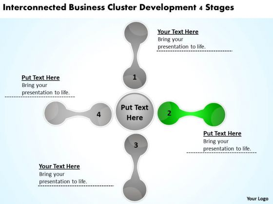 Business Cluster Development 4 Stages Developing Plan Template PowerPoint Slides