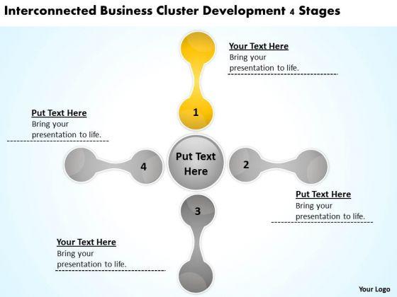 Business Cluster Development 4 Stages Plan PowerPoint Slides