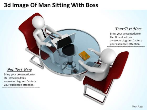 Business Concepts 3d Image Of Man Sitting With Boss Character Modeling