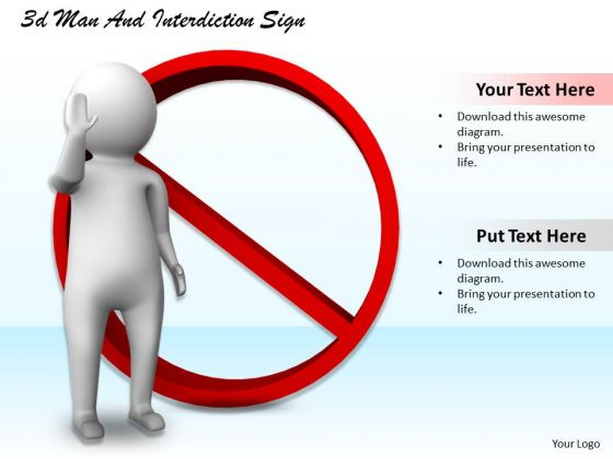 Business Concepts 3d Man And Interdiction Sign Character