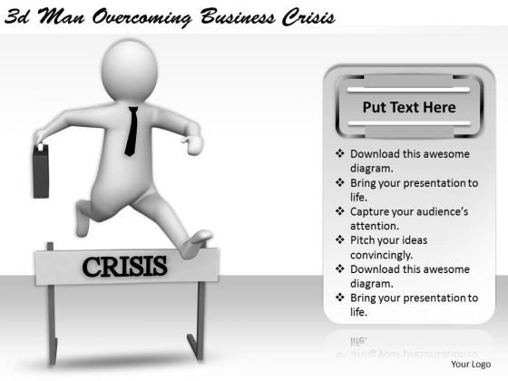 Business Concepts 3d Man Overcoming Crisis Character Models