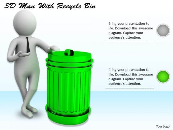 Business Concepts 3d Man With Recycle Bin Character