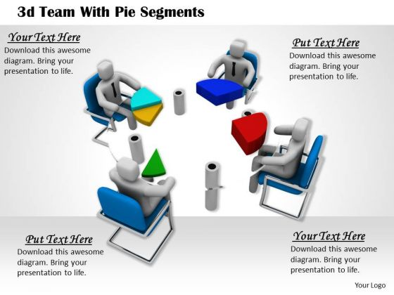 Business Concepts 3d Team With Pie Segments Character Models