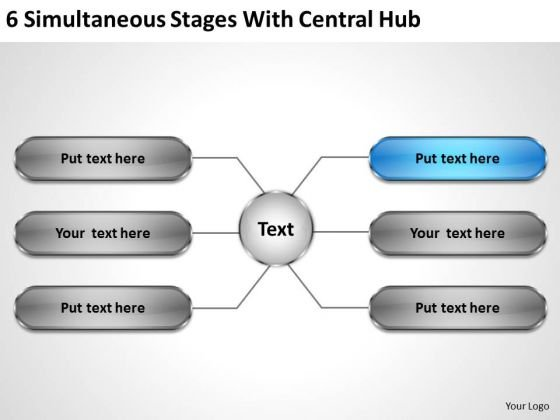 Business Concepts 6 Simultaneous Stages With Central Hub Marketing