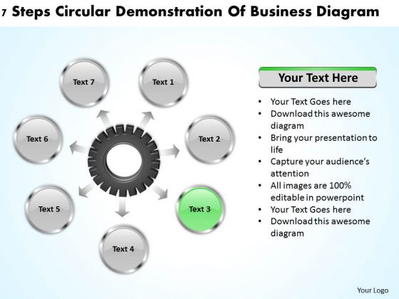 Business Concepts 7 Steps Circular Demonstration Of Diagrams PowerPoint