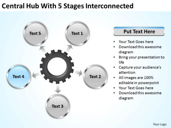 Business Concepts Central Hub With 5 Stages Iterconnected Ppt Corporate Strategy