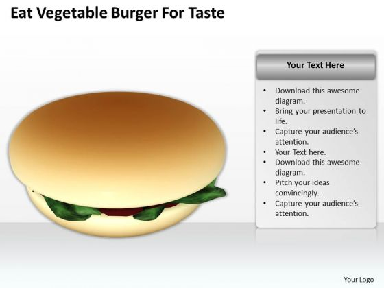 Business Concepts Eat Vegetable Burger For Taste Success Images