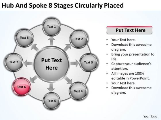 Business Concepts Hub And Spoke 8 Stages Circularly Placed Strategy Planning