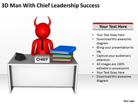 Business Context Diagram 3d Man With Chief Leadership Success PowerPoint Slides