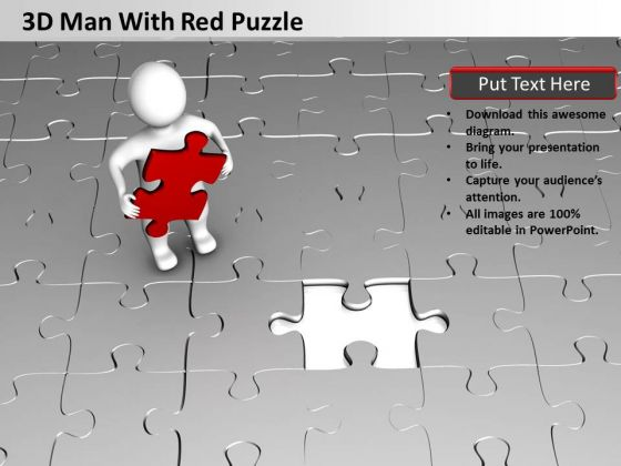 Business Cycle Diagram 3d Man With Red Puzzle PowerPoint Templates Ppt Backgrounds For Slides