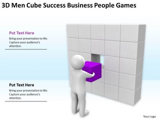 Business Cycle Diagram 3d Men Cube Success PowerPoint Theme People Games Slides