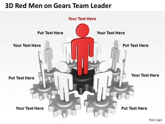 Business Cycle Diagram 3d Red Men On Gears Team Leader PowerPoint Slides
