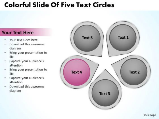 Business Cycle Diagram Colorful Slide Of Five Text Circles PowerPoint Slides