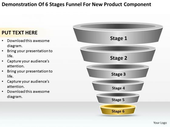 Business Cycle Diagram Of 6 Stages Funnel For New Product Component Ppt PowerPoint Templates