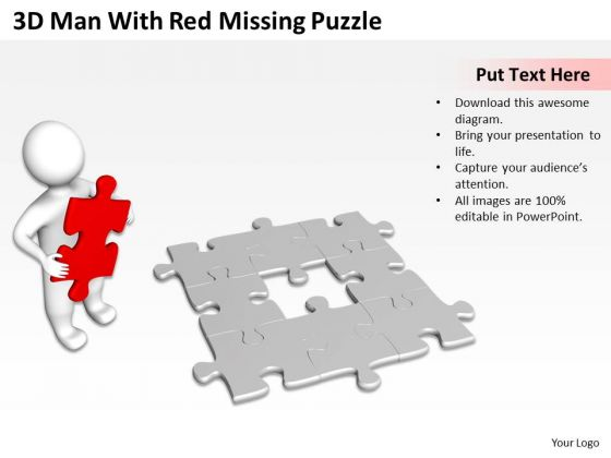 Business Cycle Diagram With Red Missing Puzzle PowerPoint Templates Ppt Backgrounds For Slides