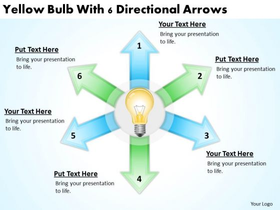 Business Cycle Diagram Yellow Bulb With 6 Directional Arrows PowerPoint Templates