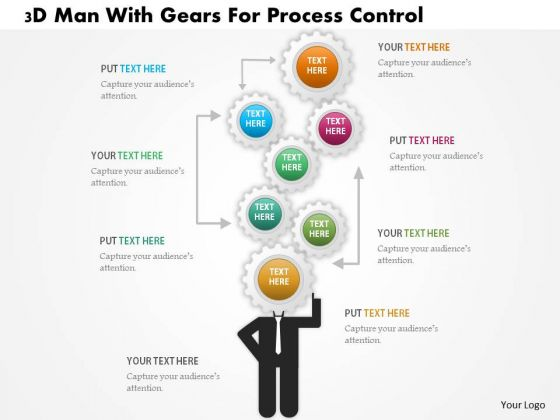 Business Daigram 3d Man With Gears For Process Control Presentation Templets
