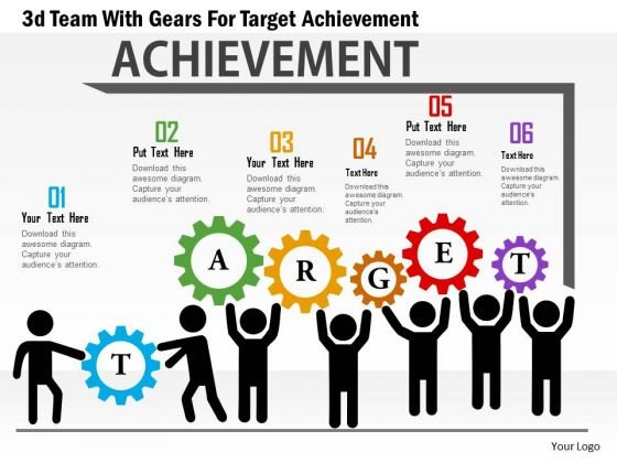 Business Daigram 3d Team With Gears For Target Achievement Presentation Templets