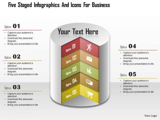 Business Daigram Five Staged Infographics And Icons For Business Presentation Templets