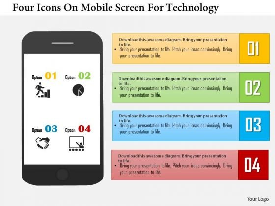 Business Daigram Four Icons On Mobile Screen For Technology Presentation Templets