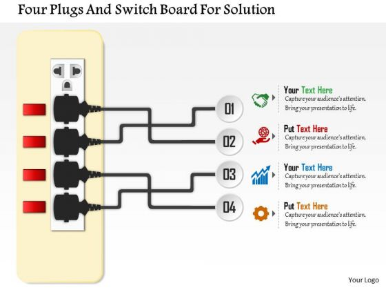 Business Daigram Four Plugs And Switch Board For Solution Presentation Templets