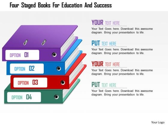 Business Daigram Four Staged Books For Education And Success Presentation Templets