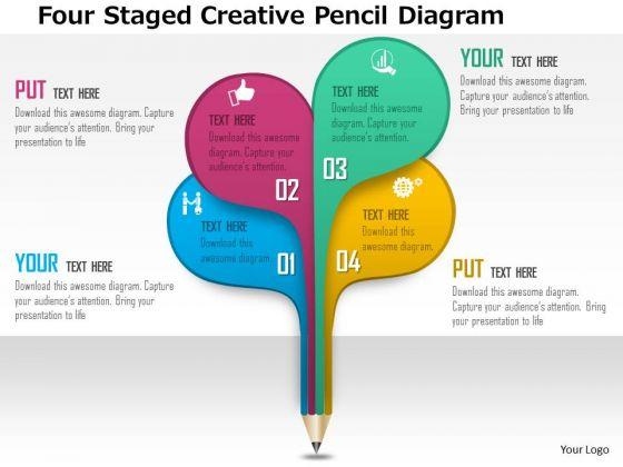 Business Daigram Four Staged Creative Pencil Diagram Presentation Templets
