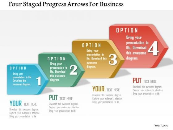 Business Daigram Four Staged Progress Arrows For Business Presentation Templets