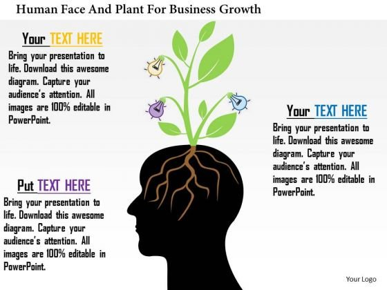 Business Daigram Human Face And Plant For Business Growth Presentation Templets