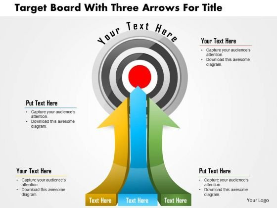 Business Daigram Target Board With Three Arrows For Title Presentation Templets