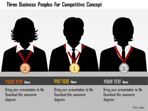 Business Daigram Three Business Peoples For Competitive Concept Presentation Templets