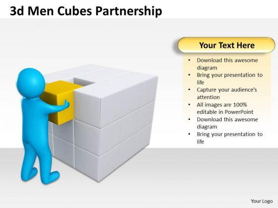 Business Development Process Diagram 3d Cubes Partnership PowerPoint Templates