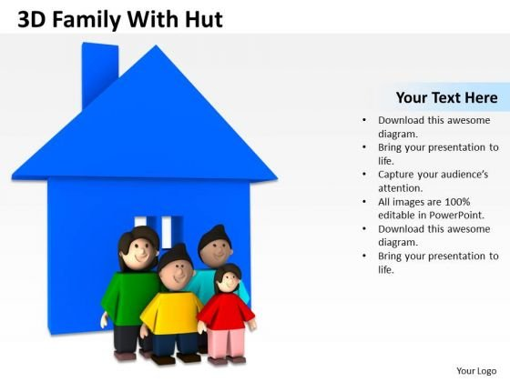 Business Development Process Diagram 3d Family With Hut PowerPoint Slides