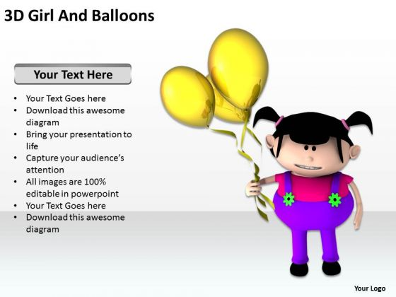 Business Development Process Diagram 3d Girl And Balloons PowerPoint Slides