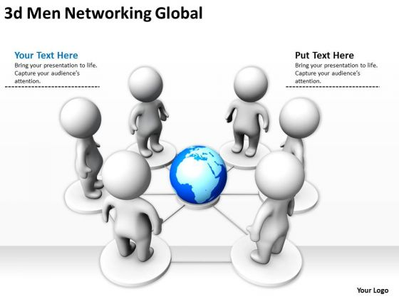 Business Development Process Diagram 3d Networking Global PowerPoint Templates