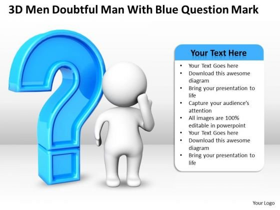 Business Development Process Diagram Doubtful Man With Blue Question Mark PowerPoint Templates