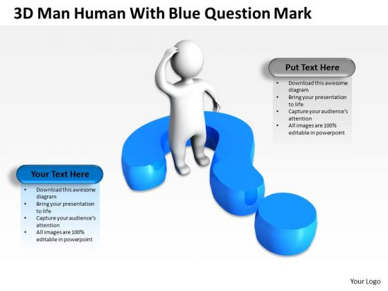 Business Development Process Flowchart 3d Man Human With Blue Question Mark PowerPoint Templates