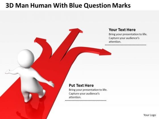 Business Development Process Flowchart 3d Man Human With Blue Question Marks PowerPoint Templates